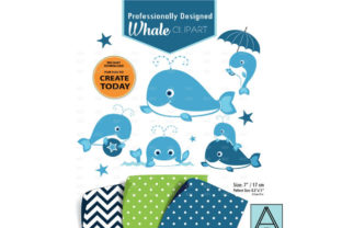 Whale Clip Art, Squirt Clip Art Graphic By adlydigital