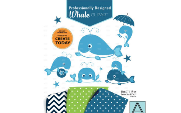 Print on Demand: Whale Clip Art Graphic Illustrations By adlydigital - Image 1