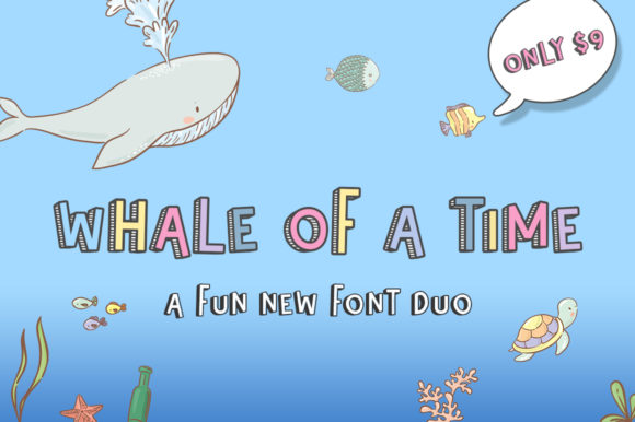 Print on Demand: Whale of a Time Display Schriftarten von Salt & Pepper Designs
