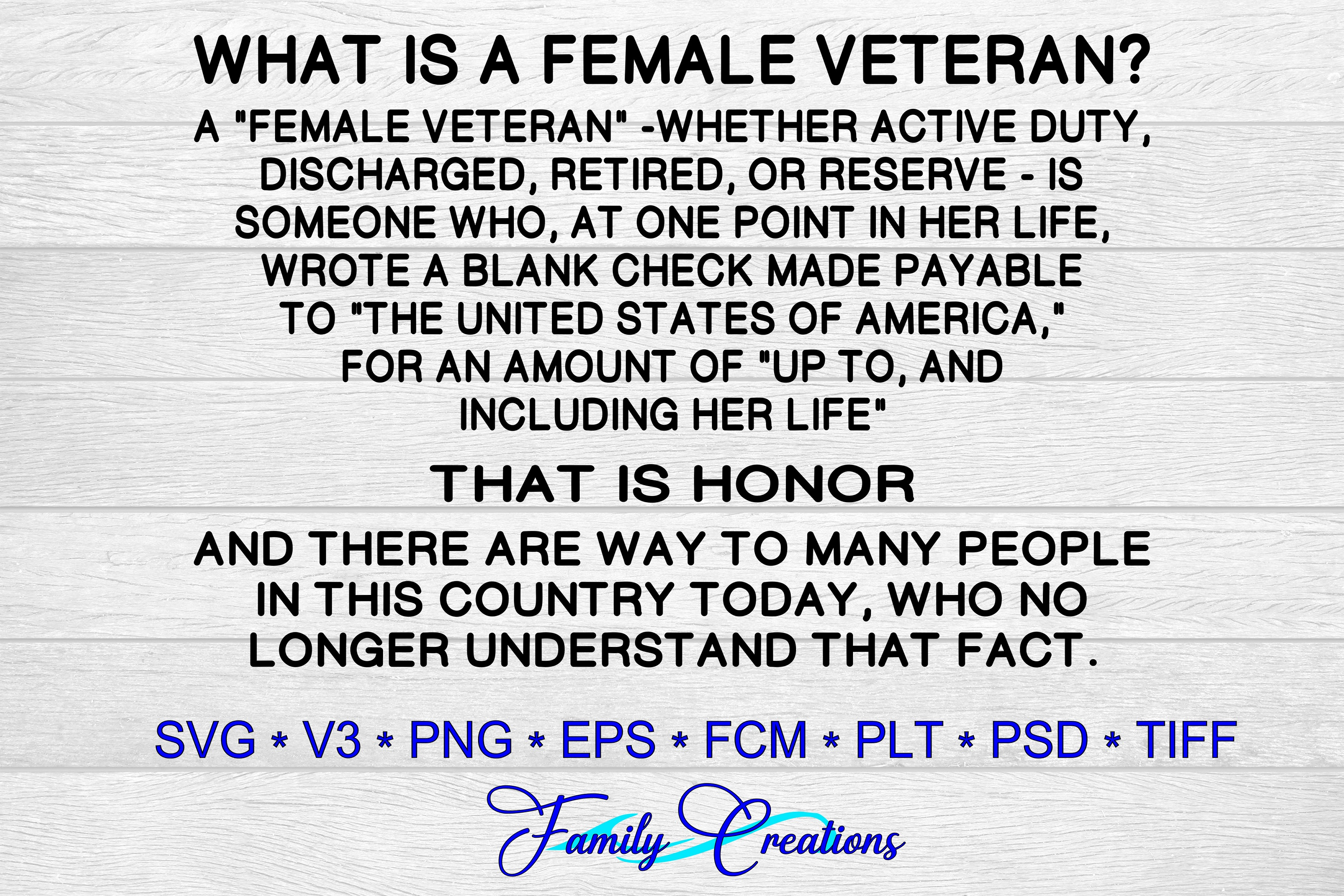 Download Free What Is A Female Veteran Graphic By Family Creations Creative for Cricut Explore, Silhouette and other cutting machines.