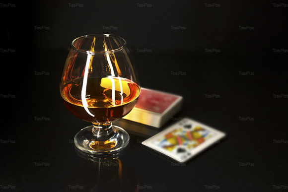 Print on Demand: Whiskey Glass and Playing Cards Graphic Food & Drinks By TasiPas