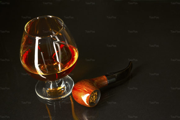 Print on Demand: Whiskey Glass and Smoking Pipe on Black Graphic Food & Drinks By TasiPas