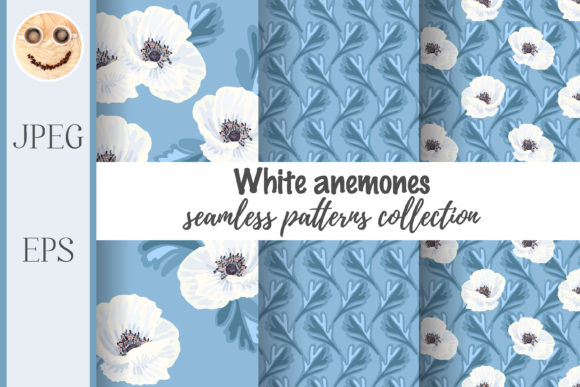 Print on Demand: White Anemones Seamless Pattern Graphic Patterns By TasiPas