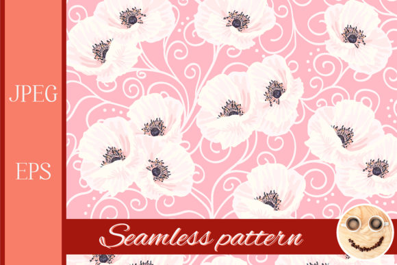 Print on Demand: White Anemones on the Pink Pattern Graphic Patterns By TasiPas
