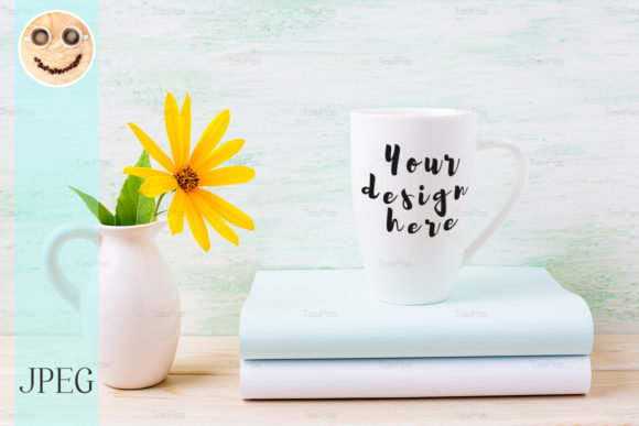 Print on Demand: White Cappuccino Mug Mockup with Yellow Graphic Product Mockups By TasiPas