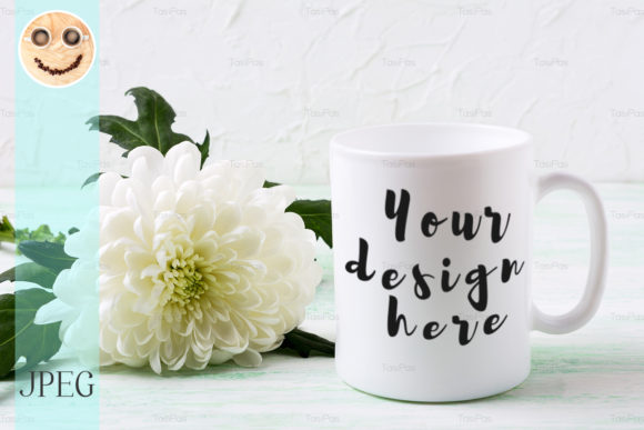 Print on Demand: White Coffee Mug Mockup with Chrysanthem Graphic Product Mockups By TasiPas