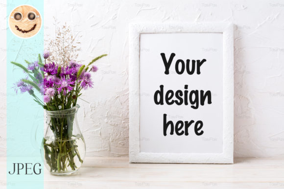 Print on Demand: White Frame Mockup with Burdock Flowers Graphic Product Mockups By TasiPas