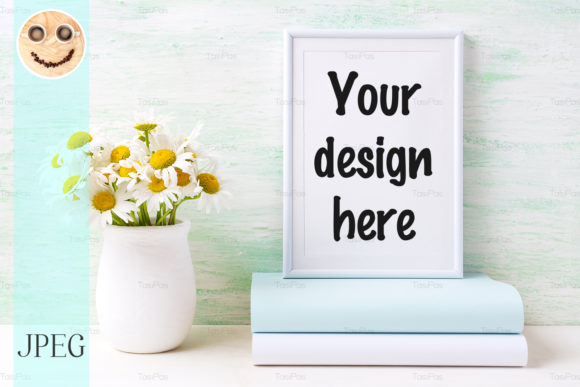 Print on Demand: White Frame Mockup with Chamomile Bouque Graphic Product Mockups By TasiPas