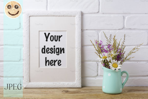 Print on Demand: White Frame Mockup with Chamomile Graphic Product Mockups By TasiPas