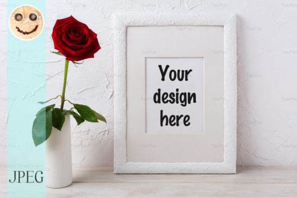 Print on Demand: White Frame Mockup with Dark Red Rose Graphic Product Mockups By TasiPas