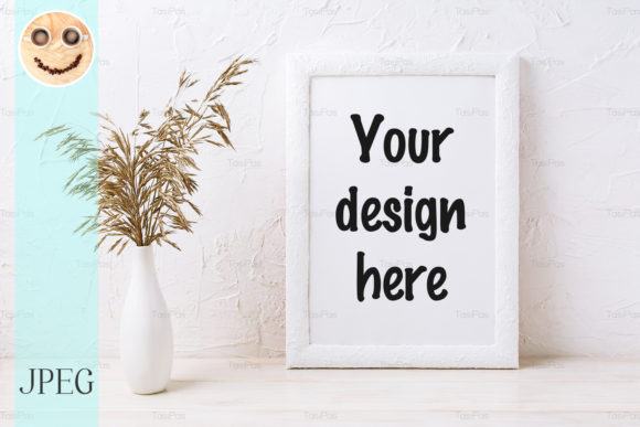 Print on Demand: White Frame Mockup with Decorative Grass Graphic Product Mockups By TasiPas