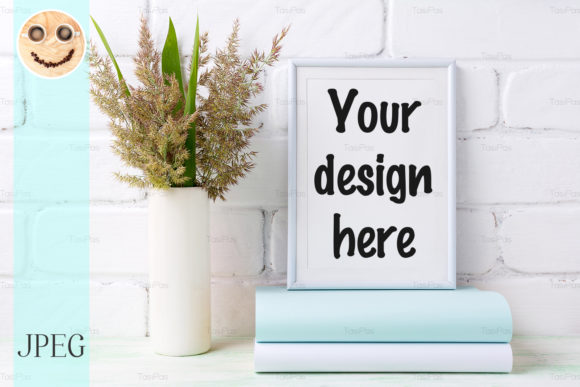 Download Free White Frame Mockup With Grass Graphic By Tasipas Creative Fabrica for Cricut Explore, Silhouette and other cutting machines.
