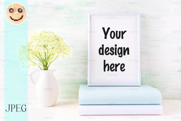 Print on Demand: White Frame Mockup with Pale Mint Book Graphic Product Mockups By TasiPas