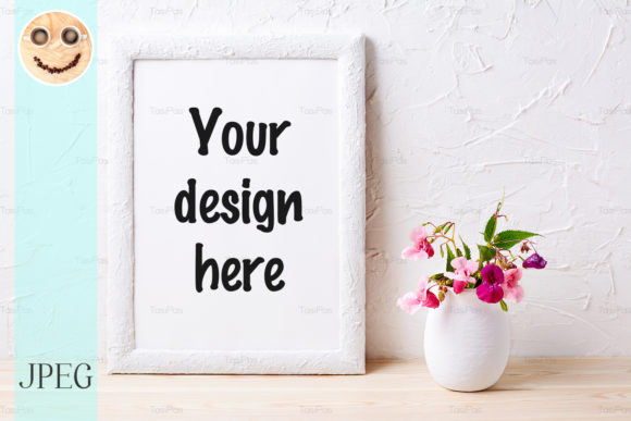 Print on Demand: White Frame Mockup with Pink Flowers Graphic Product Mockups By TasiPas