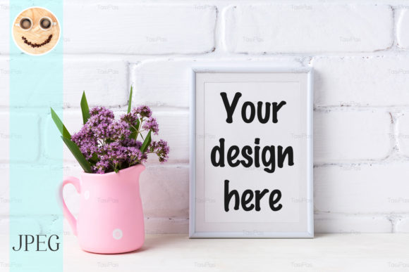 Print on Demand: White Frame Mockup with Purple Flowers Graphic Product Mockups By TasiPas