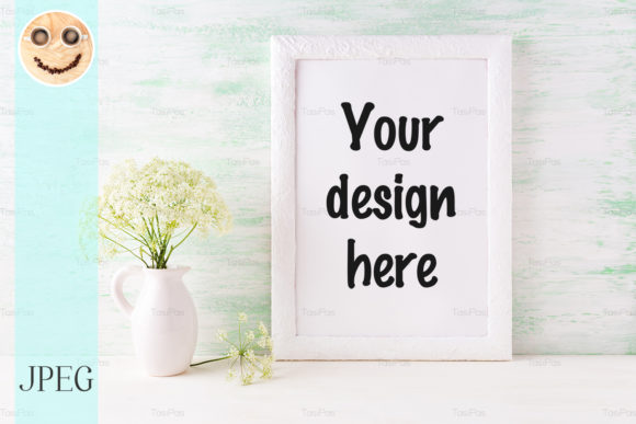 Print on Demand: White Frame Mockup with Wild Flower Graphic Product Mockups By TasiPas