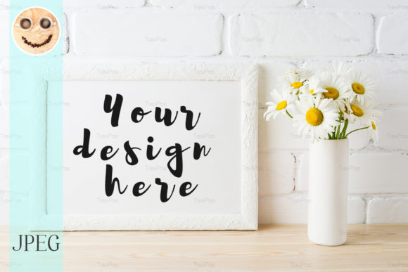 Print on Demand: White Landscape Frame Mockup Graphic Product Mockups By TasiPas