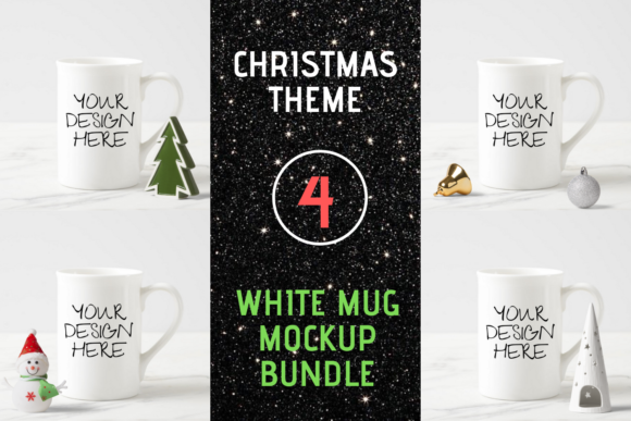 White Mug Mock Up Bundle-Christmas Theme