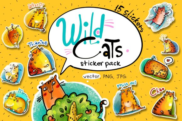 Print on Demand: Wild Cats - Sticker Pack Graphic Illustrations By Zooza Art