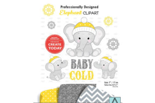 Winter Elephant Clip Art in Yellow Graphic By adlydigital