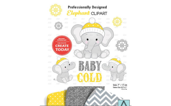 Print on Demand: Winter Elephant Clip Art in Yellow Graphic Illustrations By adlydigital