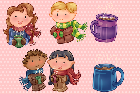 Download Free Winter Hot Cocoa Clip Art Collection Graphic By for Cricut Explore, Silhouette and other cutting machines.