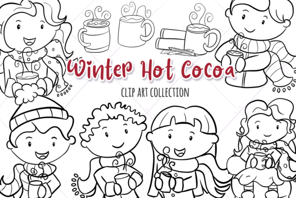 Print on Demand: Winter Hot Cocoa Digital Stamps Graphic Illustrations By Keepinitkawaiidesign