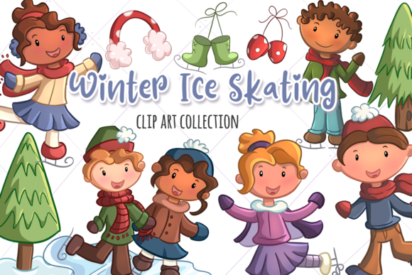 Print on Demand: Winter Ice Skating Clip Art Collection Graphic Illustrations By Keepinitkawaiidesign