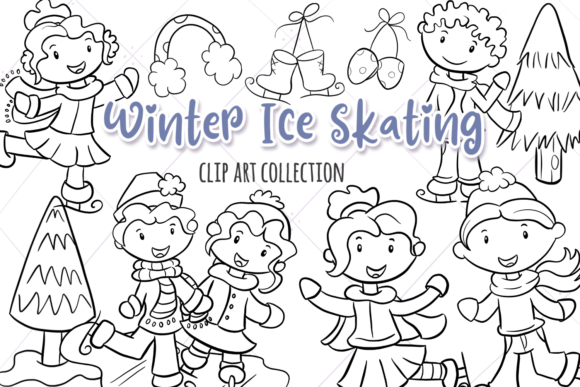 Print on Demand: Winter Ice Skating Digital Stamps Graphic Illustrations By Keepinitkawaiidesign