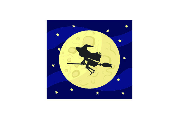 Witch Flying Broom in Front of Full Moon - Halloween Halloween Craft Cut File By Creative Fabrica Crafts