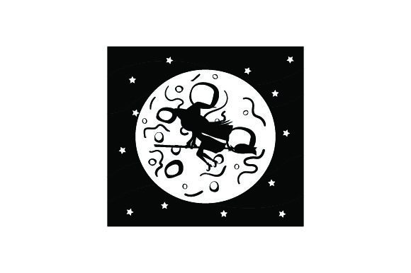 Download Free Witch Flying Broom In Front Of Full Moon Halloween Svg Cut File for Cricut Explore, Silhouette and other cutting machines.