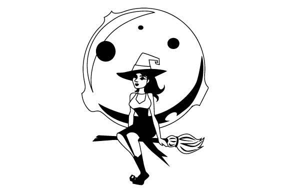 Witch Flying Broom In Front Of Full Moon Svg Cut File By