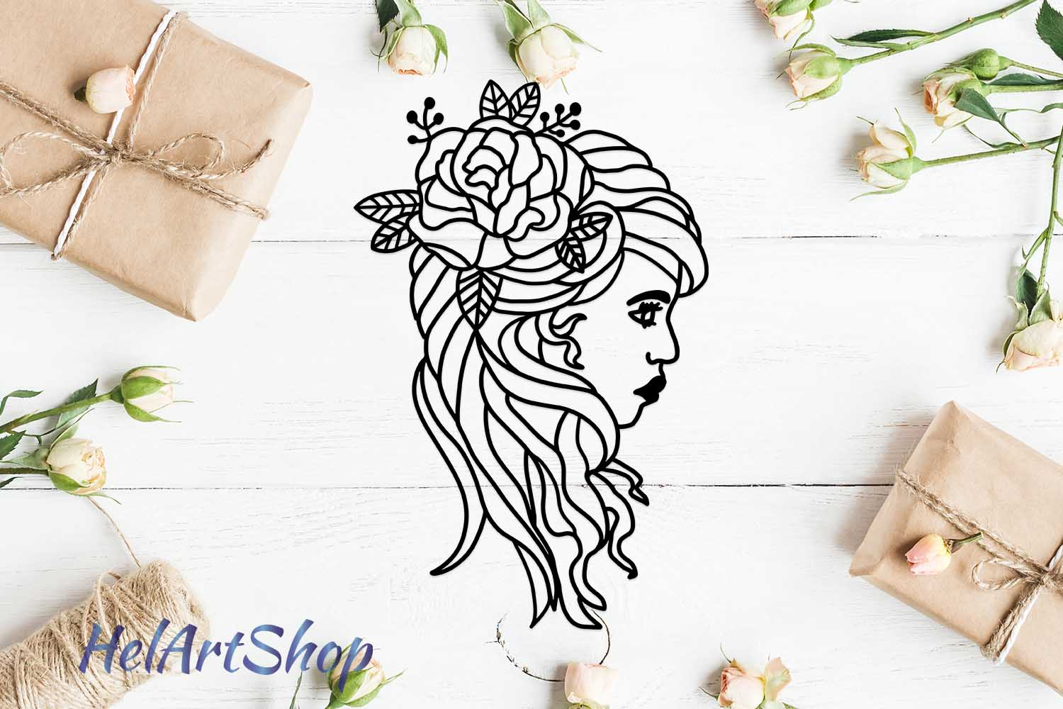 Download Free Woman Face With Flowers Graphic By Helartshop Creative Fabrica for Cricut Explore, Silhouette and other cutting machines.