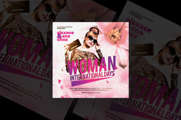 Woman International Day Party Flyer Graphic Print Templates By qohhaarqhaz