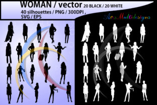 Print on Demand: Women Silhouette Clipart Graphic Illustrations By Arcs Multidesigns
