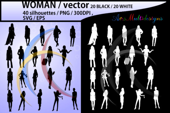 Print on Demand: Women Silhouette Clipart Graphic Illustrations By Arcs Multidesigns - Image 1