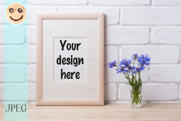 Print on Demand: Wooden Frame Mockup with Cornflower Graphic Product Mockups By TasiPas
