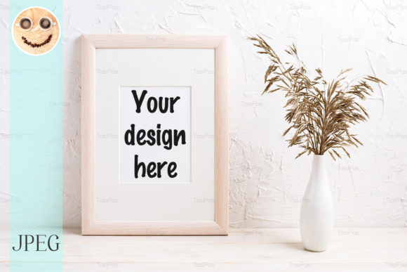 Print on Demand: Wooden Frame Mockup with Dried Grass Graphic Product Mockups By TasiPas
