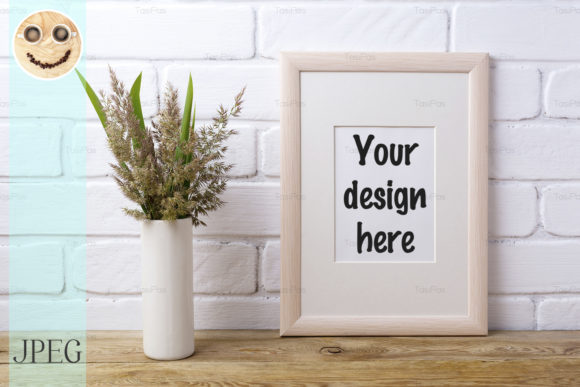 Print on Demand: Wooden Frame Mockup with Grass Graphic Product Mockups By TasiPas