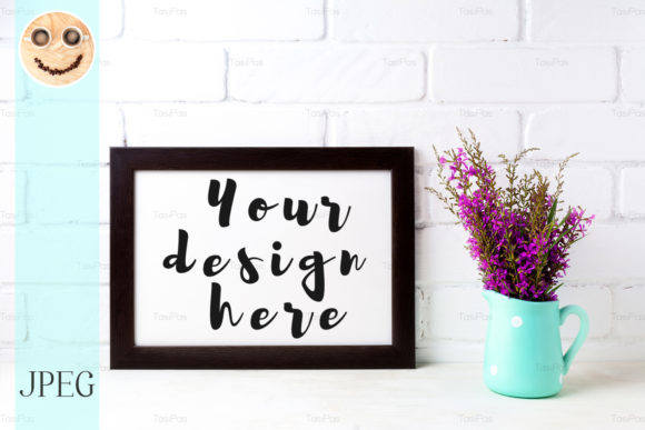 Print on Demand: Wooden Frame Mockup with Magenta Flowers Graphic Product Mockups By TasiPas