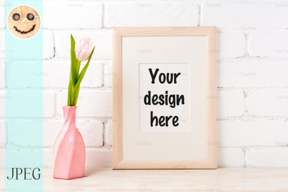 Print on Demand: Wooden Frame Mockup with Pink Tulip Graphic Product Mockups By TasiPas