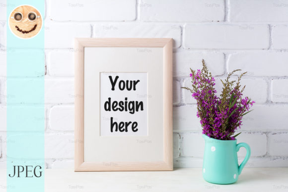 Print on Demand: Wooden Frame Mockup with Purple Flowers Graphic Product Mockups By TasiPas
