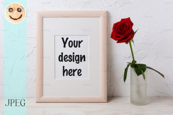 Print on Demand: Wooden Frame Mockup with Red Rose Graphic Product Mockups By TasiPas