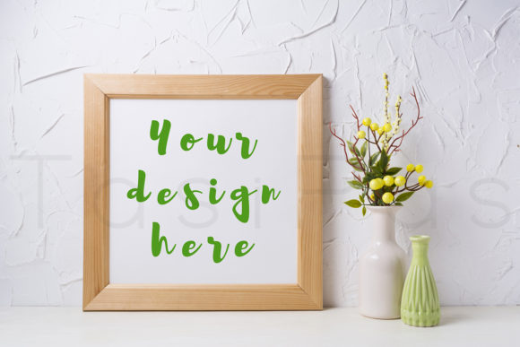 Download Free Wooden Square Frame Mockup With Yellow Graphic By Tasipas for Cricut Explore, Silhouette and other cutting machines.