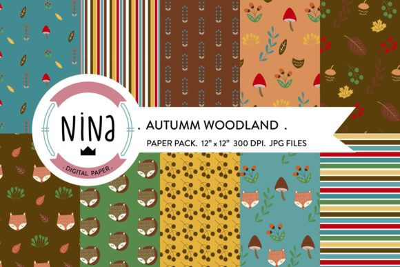 Woodland Digital Paper Pack Graphic Patterns By Nina Prints