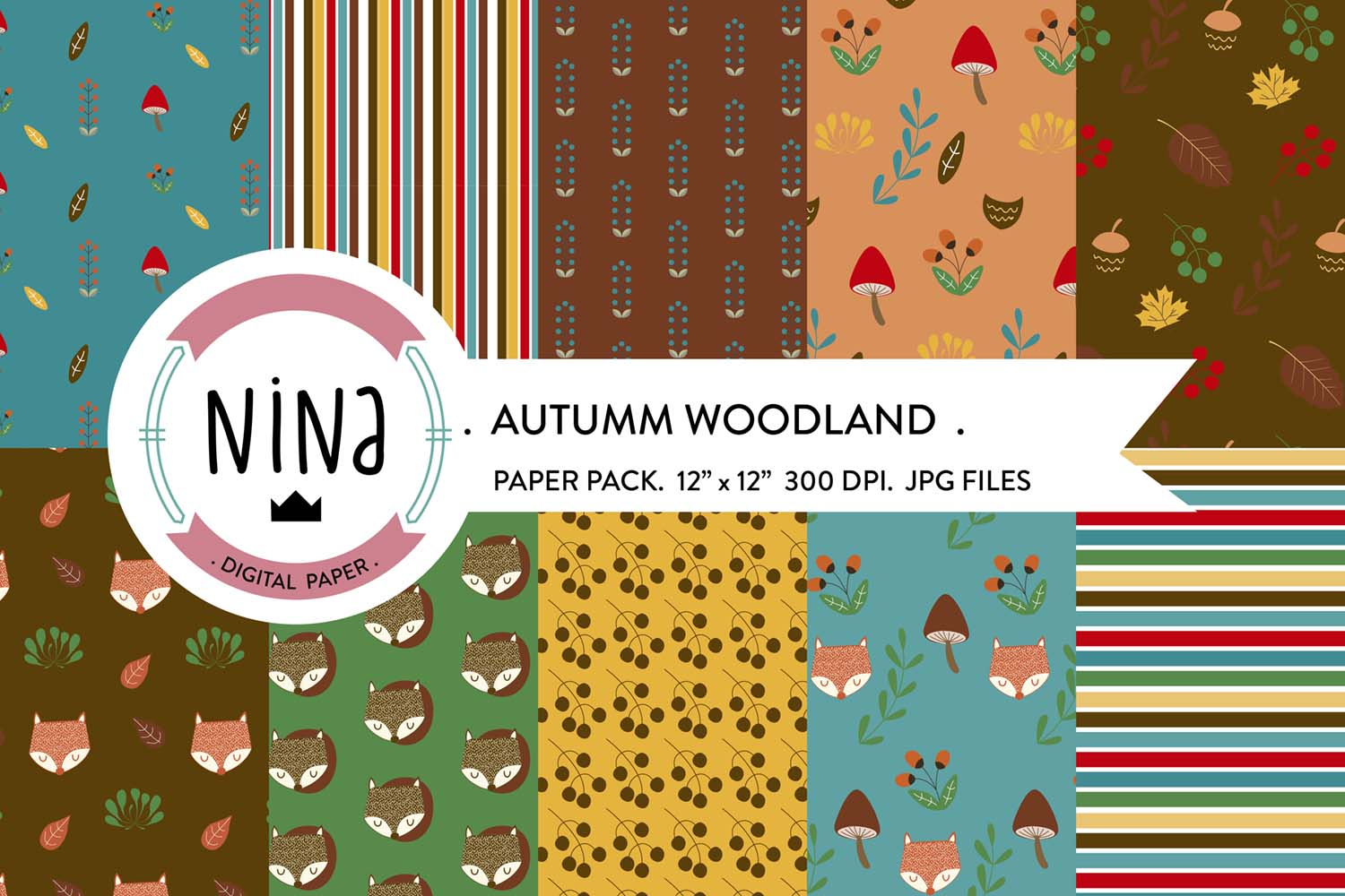 Download Free Woodland Digital Paper Pack Graphic By Nina Prints Creative for Cricut Explore, Silhouette and other cutting machines.
