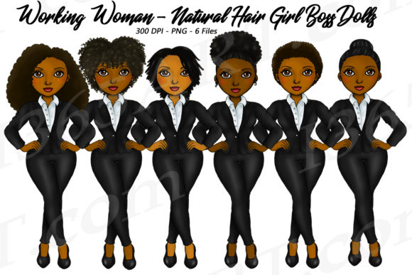 Working Woman Natural Hair Black Graphic Illustrations By Deanna McRae