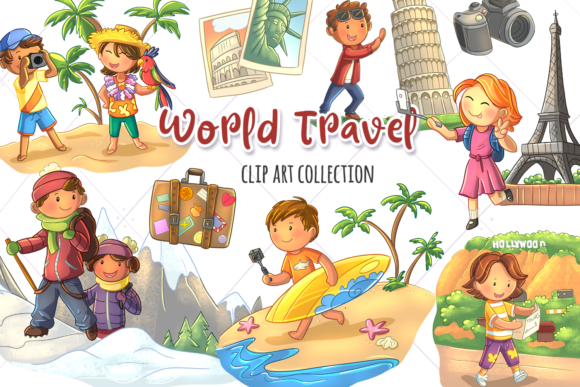 Print on Demand: World Travel Clip Art Collection Graphic Illustrations By Keepinitkawaiidesign
