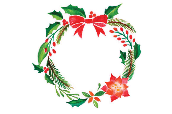 Wreath in Watercolor Christmas Craft Cut File By Creative Fabrica Crafts - Image 1