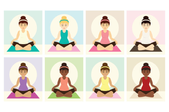 Print on Demand: Yoga Girls Clip Art Graphic Objects By Running With Foxes - Image 2